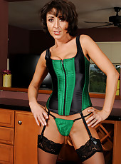 Petite MILF Coral from AllOver30 looking very sexy in green lingerie