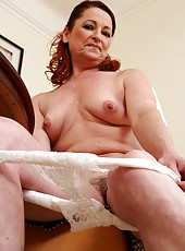 45 year old secretary displaying her furry warm pussy after taking notes
