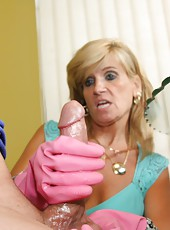 Sexy over 40 mom Crystal Jewels gives step son a handjob