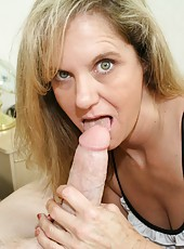 Milf Cami loves it when Billy gets blue balls, that means she gets to stroke it, and make his cock cum. The drunk milf strokes it until he erupts milkly jizm all over her hands