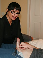Milf Angie Niore scolds Joey for not writing his class paper, but young Joey has better things in mind, like jerking off his large cock. When Joey starts pulling his pud, the horny milf gets curious and starts jerking it for him