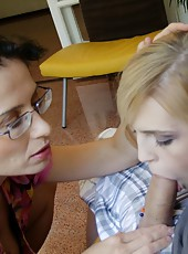 Tatiana Petrova watches as teen sucks a large cock to cumshot