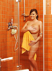 Shower with a very chesty beauty