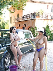 Hot busty babes washing car naked