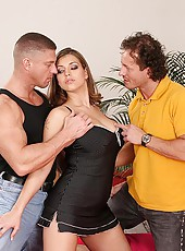 Busty Liana fucked hard by two men