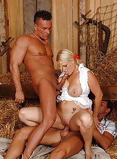 A busty blonde gets double banged