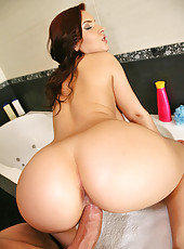 Amazing tight ass big tits  lana evans nailed hard against the bathroom shower and cum faced after titty fuck hot screaming pics