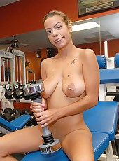 Amazing hot fucking big tits gym babe jerks a cock in a  gym then gets nailed on the bench in these amazing hot pics