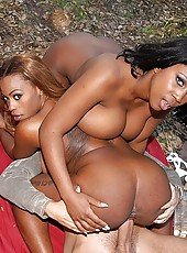 2 stacked big tits black babes fucked in these outdoor camping group sex video and pics