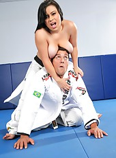 Amaing big titty babe cali get nailed on the gym floor by her kung fu instructor