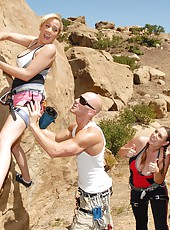 Big tits delotta and rucca get fucked on the rocks in these mountain climbing adventure videos