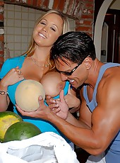 Check out the 36fff globes getting titty fucked after brandy gets picked up at the market shopping for pineapples and bananas