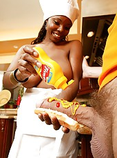 Big n juicy round ebony babe stacy takes on a hot cock with mustard and ketchup in these cock suckin and kitchen fuckin pics