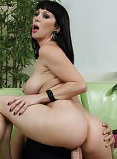 Hot brunette busty MILF gets fucked by onf of her son