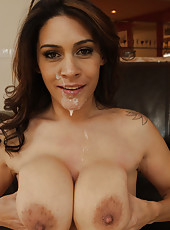 Busty latina MILF is horny and wants to get her pussy fucked rough by big cocked friend of her son