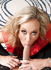 Brandi Love is a hot busty housewife who is excited to receive present so she swallows cock and gets fucked from her husband.