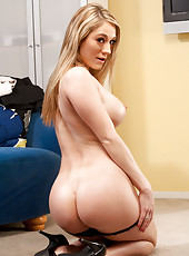 Hot blonde housewife loves to please her horny husband.