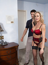 Sexy blonde MILF is video chatting and is walked in on so she fucks the younger guy who catches her.
