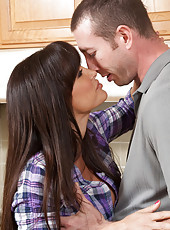 Gorgeous MILF Lisa Ann has hot sex in the kitchen and orgasms loudly from big cocked stud.