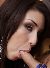 Gorgeous latina kicks working guy and sucks his cock before getting fucked by his big cock.