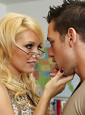 Busty cougar of a teacher fucks her big cocked student and gets big orgasms.