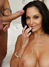 Busty brunette cougar Ava Addams is collecting signatures and cocks in her mouth.
