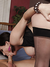 Busty brunette MILF is horny and gets her fucking by her son