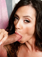 Ariella Ferrera sucks dick and gets fucked in the shower.