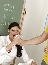 Busty hot teacher Phoenix Marie has sex with her student to reach intense orgasms.