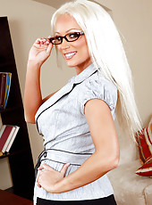 Hot blonde teacher Diana Doll is horny and gets to fuck one of her big cocked students.