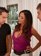 Busty blonde cougar Ariella Ferrera gets double penetrated by two big cocks at the same time.