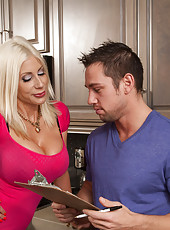 Hot blonde cougar has hot sex with young stud.