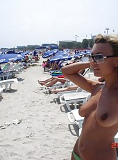 Hot naughty MILF goes topless