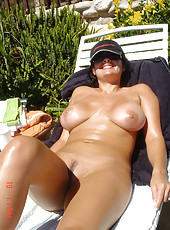Horny busty housewives posing