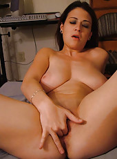Big-tittied horny housewife gets naughty