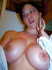 Busty housewife showing off tits