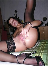 Raunchy housewife naked and spreading