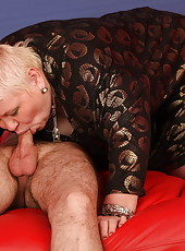 Fat oldie comforts sad boy with a sloppy BJ and a good fuck