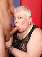 Chunky oldie sucks a young cock clean and takes it in pussy