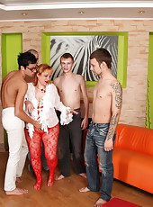 Chubby redhead�s last gangbang with five damn horny boys