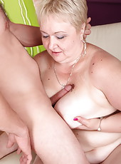 Dominant young dude spanks and throat-fucks hot chubby oldie