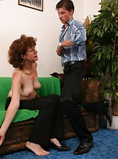 Skinny hairy old woman rides a long young cock