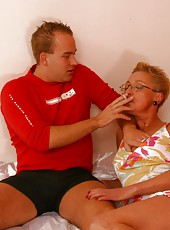 Horny old woman enjoys smoking and pussy fucking