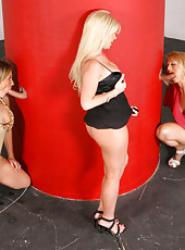 Hot mini skirt milfs share their hot ass fucking boxes in these group sex pics