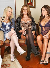 4 super hot lingerie babes strip down a horny dude then they all fuck him in these hot 5some masturbation babe fucking pics
