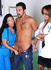Check out 2 stacked big tits doctor babes get fucked hard in their pussies in this doctor office fucking reality adventure