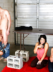 3 smoking hot ass amazing big tits milfs suck a cock thru a glory hole then get drilled 1 by 1 in these hot 4some fucking group sex