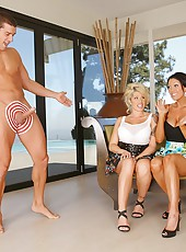 3 hot blonde milfs get fucked hard after playing horse shoe game with a hard cock and rings