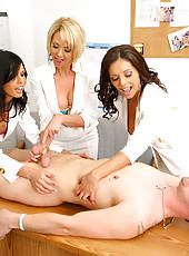 3 super hot big tits mifs hold a male model hostage to suck and fuck in this hot 4 some of milf fucking and cumfaced action