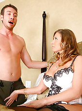 Sexy big titty babe takes advantage of sons friend in these hot milf fucking pics